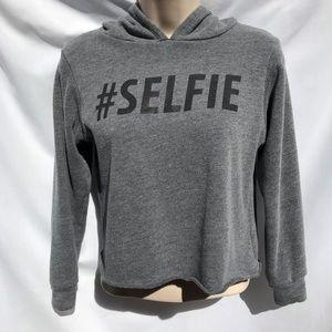 """Gray """"#Selfie"""" Hoodie"""